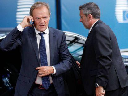 El presidente del Consejo Europeo, Donald Tusk, este martes en Bruselas.
