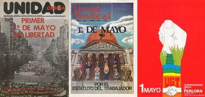 Día del Trabajo: carteles expuestos en la muestra 'El 1º de mayo y la democracia (1975-1985)'.