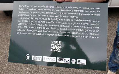 Placa que se repondrá el día 2 de octubre en Nueva York en memoria de los 200 españoles fallecidos en los barcos-prisión.