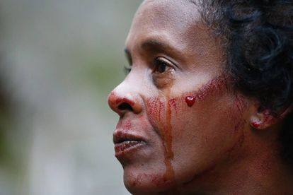 Sheila Cristina Nogueira da Silva llora la muerte de su hijo el 10 de junio.