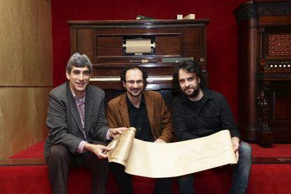 Francesc Cortès, Jaume Ayast, y Jordi Roquer, los tres responsables del proyecto.