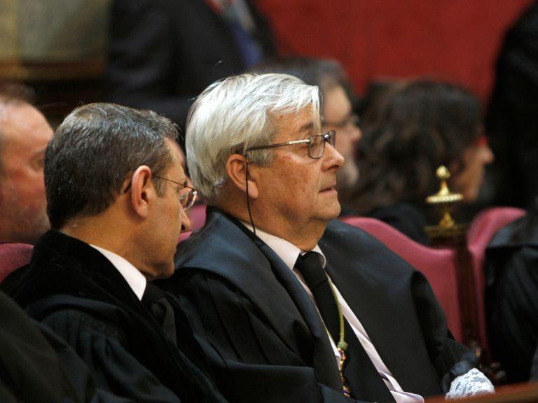 El magistrado Aurelio Desdentado, en 2010, en la toma de posesión de cuatro nuevos magistrados del Supremo.