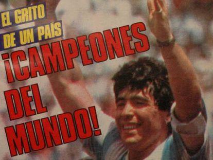 Portada de El Gráfico que refleja el triunfo de Argentina en México 86.