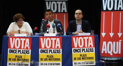 Los ediles de Ahora Madrid, Yolanda Rodríguez, Pablo Soto y José Manuel Calvo.