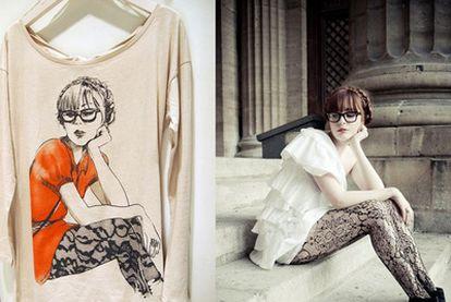 La 'bloguera' Louise Ebel y una camiseta con su imagen.