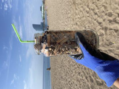 Parte de los residuos recogidos en la playa.