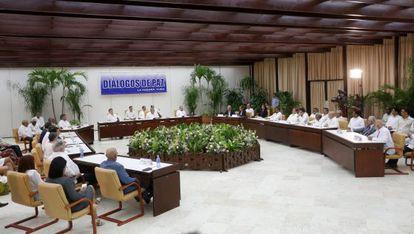 Una imagen del acto para presentar un acuerdo en los diálogos de paz en La Habana (Cuba), el 23 de septiembre de 2015.