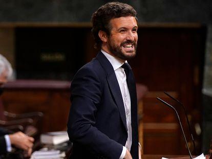 Pablo Casado, el líder del Partido Popular, durante el pleno del Congreso, este miércoles.