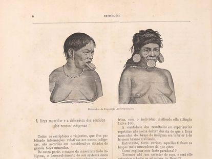 Dibujo de dos de los indígenas exhibidos en Río de Janeiro, en 1882, en el catálogo de la muestra de su Museo Nacional.
