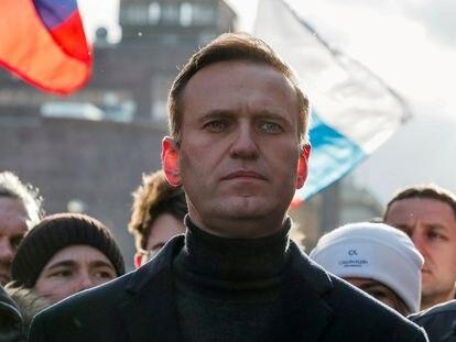 Alexéi Nalvani el pasado febrero en Moscú durante un acto para recordar el aniversario de la muerte del también opositor ruso Boris Nemtsov.