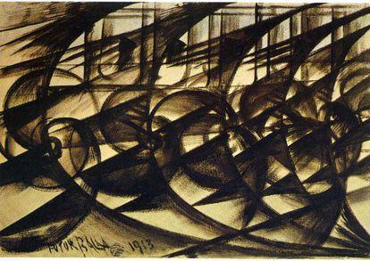 'Velocidad de automóvil' (1913) de Giacomo Balla.