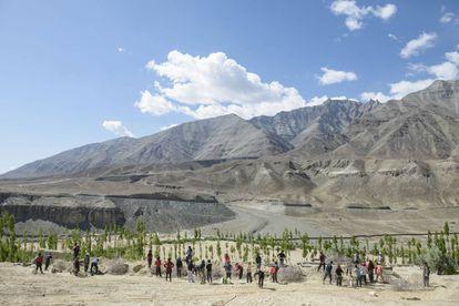 Plantación de árboles en Ladakh gracias al sistema de riego que proporcionan los glaciares artificiales creados por Wangchuk. ©Rolex