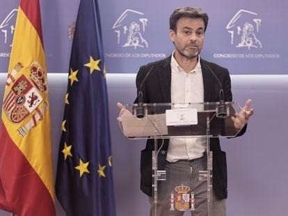 Jaume Asens, presidente del grupo parlamentario de Unidas Podemos, este martes en el Congreso.