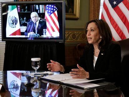La vicepresidenta de EE UU, Kamala Harris, y el presidente de México, Andrés Manuel López Obrador, el pasado 7 de mayo.