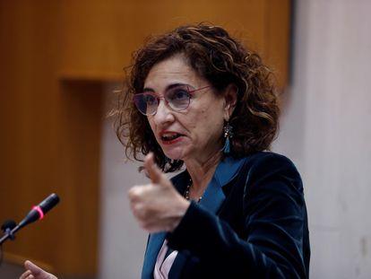 La ministra de Hacienda, María Jesús Montero, este lunes en Madrid.