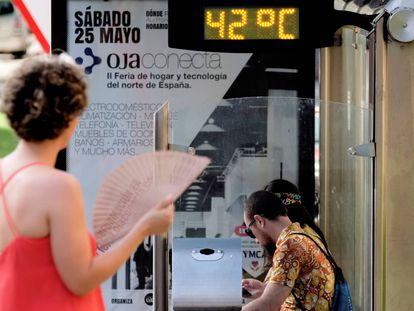 Un termómetro en Logroño, durante la ola de calor de julio del año pasado.