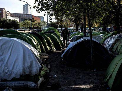 Un campamento de inmigrantes en París, el 18 de octubre