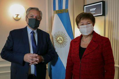 Alberto Fernández y Kristalina Georgieva, este viernes en Roma.