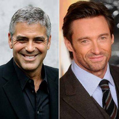 Los actores George Clooney, izquierda, y Hugh Jackman.