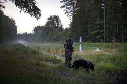 Un guardia lituano patrulla la frontera con Bielorrusia, el 10 de junio.