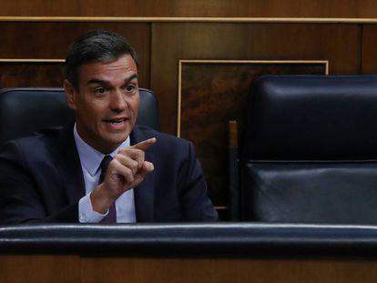 En vídeo, Pedro Sánchez, durante el pleno extraordinario en el Congreso de los Diputados.