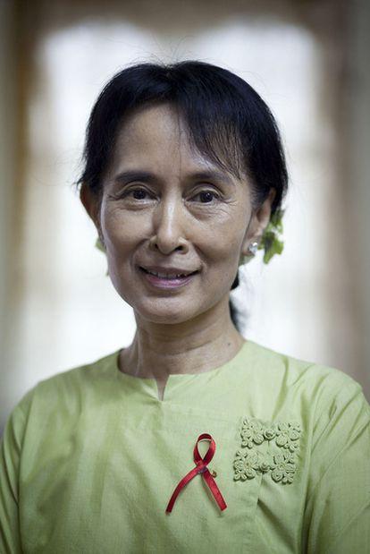 Aung San Suu Kyi, en la sede de su partido en Yangon el pasado 18 de noviembre.