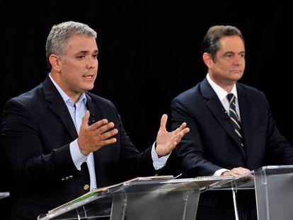Iván Duque y Germán Vargas Lleras, durante un debate en la campaña de 2018.