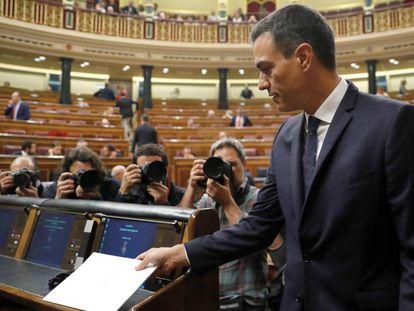 El presidente del Gobierno, Pedro Sánchez, durante la sesión de control al Gobierno en el Congreso de los Diputados