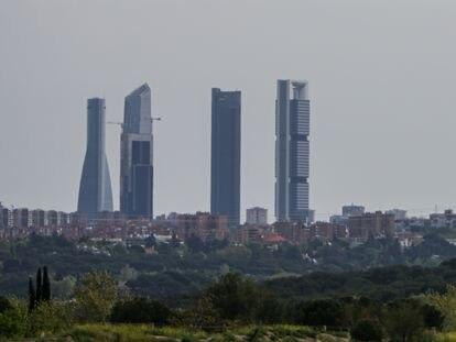 Panorámica de Madrid tomada desde la Casa de Campo, en las cercanías de Pozuelo de Alarcón.