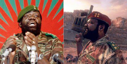 El rebelde angoleño Jonas Savimbi y su personaje en el videojuego.