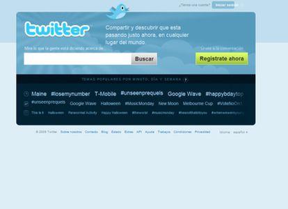 Portada del popular sitio de microblogs en castellano.