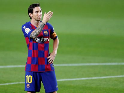 Leo Messi durante celebra el segundo gol del Barcelona al Leganés.