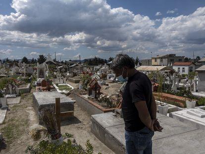 Cementerio del pueblo La concepción de los baños, en el Estado de México, rebasado por la pandemia, este julio.