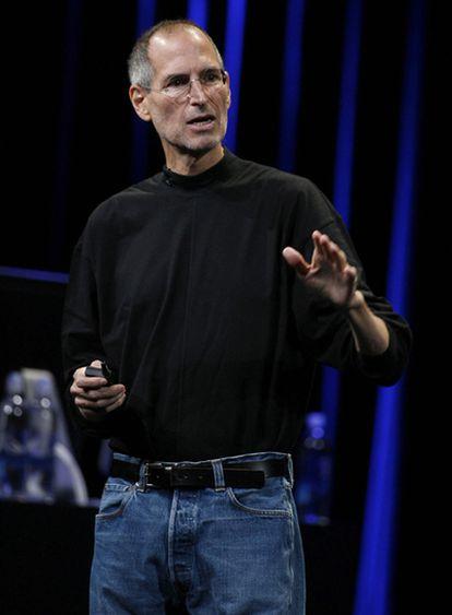 El consejero delegado de Apple, Steve Jobs, este miércoles durante la conferencia del gigante informático.