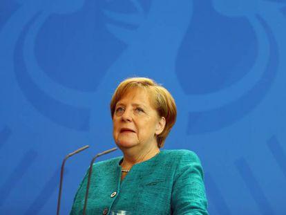 La canciller alemana, Angela Merkel, durante una rueda de prensa, este jueves en Berlín.