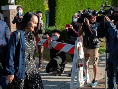 La vicepresidenta de Huawei, Meng Wanzhou, a su llegada a una vista judicial en Vancouver.