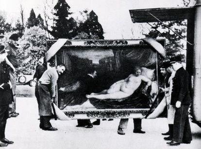 Una de las imágenes de la exposición sobre el arte salvado de las bombas durante la Guerra Civil.