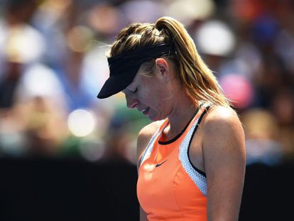 Sharapova, durante un partido en Australia.
