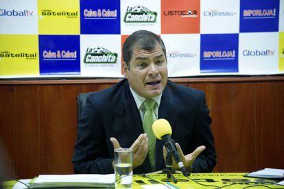 Rafael Correa hoy en una entrevista.
