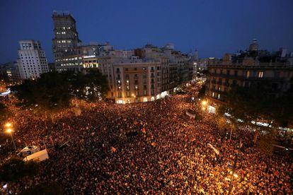 Protestas en la plaza de Catalunya.
