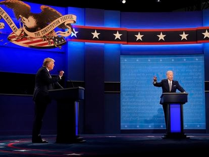 Un momento del debate presidencial entre Donald Trump y Joe Biden.