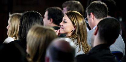 """La secretaria general del PP, María Dolores de Cospedal, durante su participación en la clausura, ayer, en San Sebastián, de la jornada de debate """"¿Nos representan?""""."""
