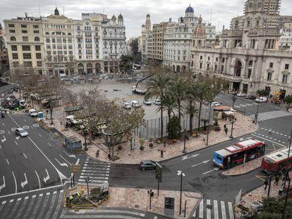La plaza del Ayuntamiento de Valencia se convertirá en peatonal a partir del 20 de marzo.