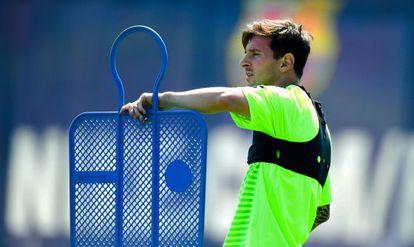 Messi, en el último entrenamiento de Barcelona.