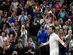 Tennis - Wimbledon - All England Lawn Tennis and Croquet Club, London, Britain - June 30, 2021 Britain's Andy Murray celebrates winning his second round match against Germany's Oscar Otte REUTERS/Toby Melville     TPX IMAGES OF THE DAY