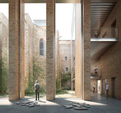 Imagen virtual del interior de los contrafuertes que permitirán ver los elementos medievales desde la plaza dels Àngels en el proeycto ganador para ampliar el Macba.