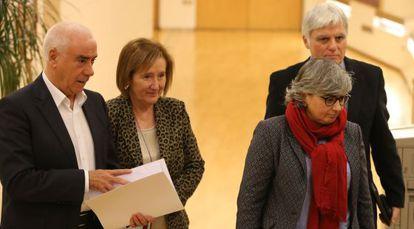 Desde la izquierda, Luciano Alonso (Andalucía), Teresa Pijoan (Cataluña), Ana González (Asturias) y José Miguel Pérez (Canarias), este lunes en el Congreso.