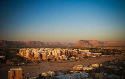 Panoramic view of the Shibam skyscrapers.