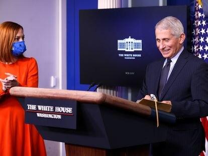 El director del Instituto Nacional de Enfermedades Infecciosas de Estados Unidos, Anthony Fauci, en la sala de prensa de la Casa Blanca, este jueves.