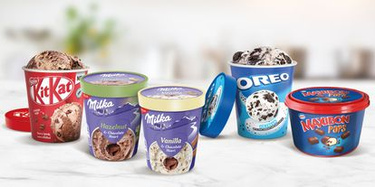 Envases de varias marcas de helados de Nestlé.
